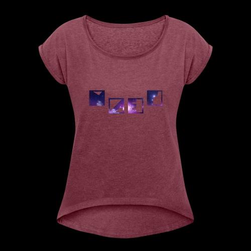 Blue Galaxy - Frauen T-Shirt mit gerollten Ärmeln