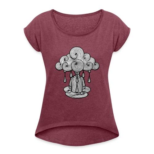 nuage lundi pluie, le lundi c'est nul... - T-shirt à manches retroussées Femme