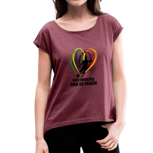 Fußball-Shirt Brasilien - Deutschland - Frauen T-Shirt mit gerollten Ärmeln