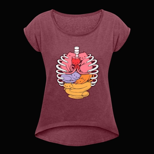 El cuerpo humano por dentro - Camiseta con manga enrollada mujer