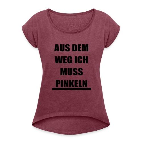PINKELN schwarz - Frauen T-Shirt mit gerollten Ärmeln
