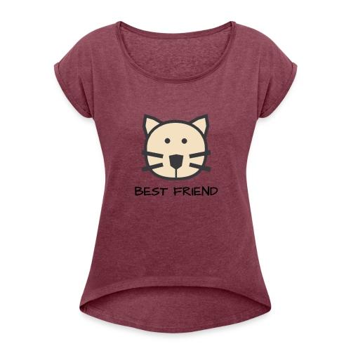 Katzen - Best Friends - Frauen T-Shirt mit gerollten Ärmeln