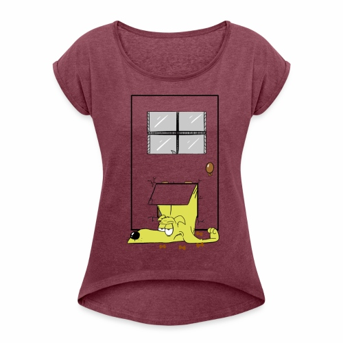Stuck in a door dog - Women's T-Shirt with rolled up sleeves
