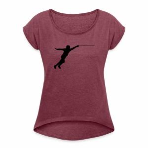 Jumping Fencer - Frauen T-Shirt mit gerollten Ärmeln