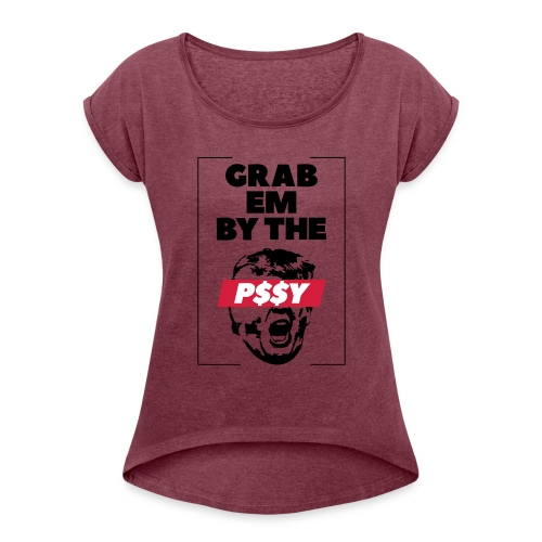 pussy black - Frauen T-Shirt mit gerollten Ärmeln