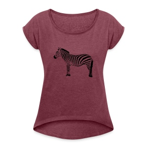 Premium Hoodie Woman | I am a freaking ZEBRA - Women's T-shirt with rolled up sleeves