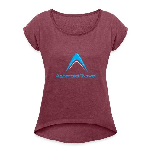 Asteroid Travel Logo - T-skjorte med rulleermer for kvinner