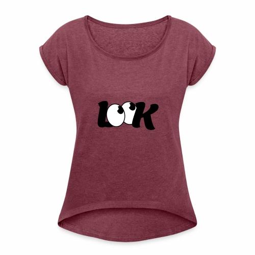 LOOK - Koszulka damska z lekko podwiniętymi rękawami