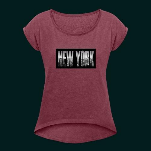 new-york-city-manhattan-overlook-melanie-viola - T-shirt med upprullade ärmar dam
