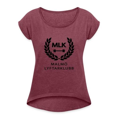 TshirtSvart - T-shirt med upprullade ärmar dam
