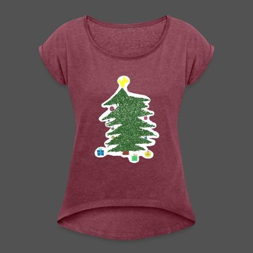 Christmas Kids-Drawing - Frauen T-Shirt mit gerollten Ärmeln
