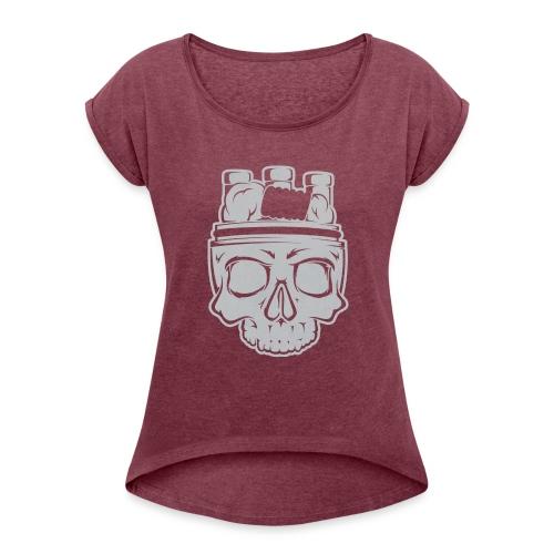 VAPE SKULL - Koszulka damska z lekko podwiniętymi rękawami