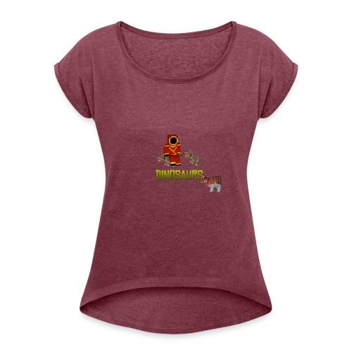 Minecraft Dinosaurs T-shirt - Vrouwen T-shirt met opgerolde mouwen