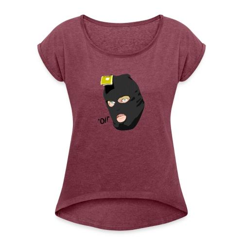 BLACK_CONDOM_SHIRT_PIC_1 - T-skjorte med rulleermer for kvinner