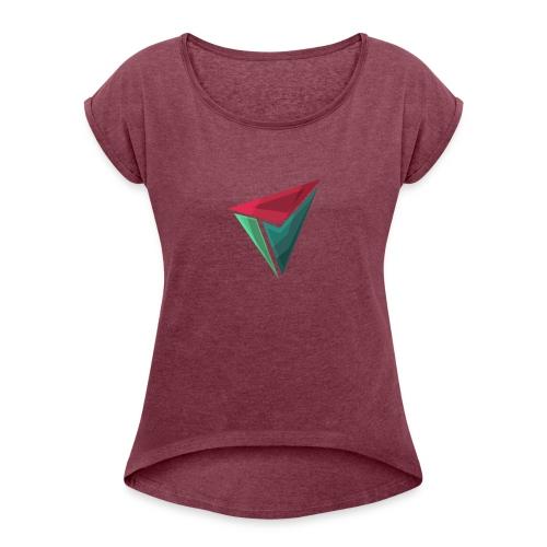 90gQopen T-Shirt | Logga Färg - T-shirt med upprullade ärmar dam