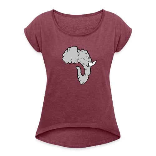 Elefante Perfil - Camiseta con manga enrollada mujer