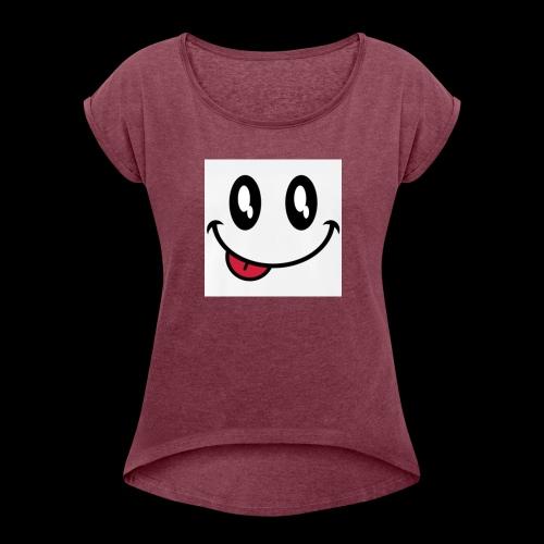 augen-smiley-zunge-t-shirts-maenner-premium-t-shir - Frauen T-Shirt mit gerollten Ärmeln