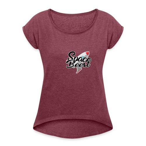 Logo, SpaceBeest - Vrouwen T-shirt met opgerolde mouwen