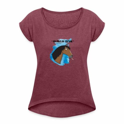 EH FILS DE CH'VAL Bleu - T-shirt à manches retroussées Femme