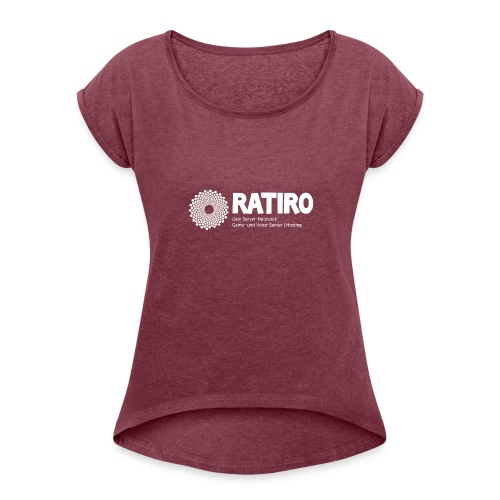 4 Logo Weiss - Frauen T-Shirt mit gerollten Ärmeln