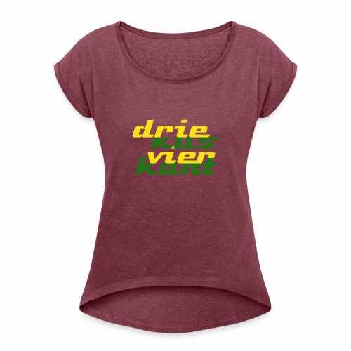 Driekus Vierkant - Vrouwen T-shirt met opgerolde mouwen