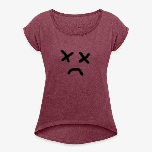 cara x triste 2 - Camiseta con manga enrollada mujer