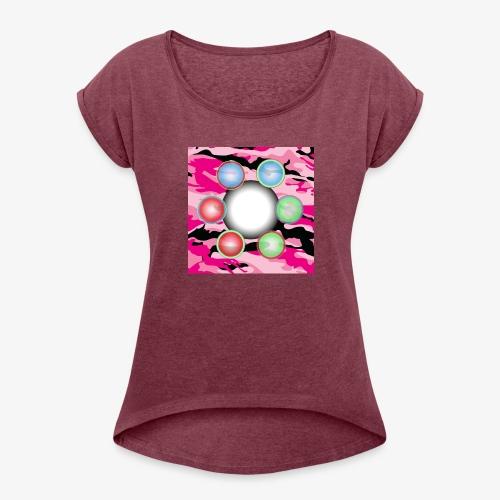 Singularité Box Logo Camo Rose - T-shirt à manches retroussées Femme