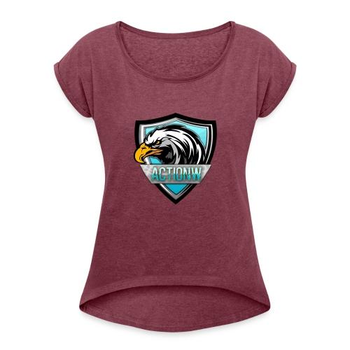 Fan shirt + Logo - Vrouwen T-shirt met opgerolde mouwen