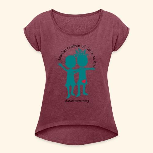 GhanAid Logo - Frauen T-Shirt mit gerollten Ärmeln