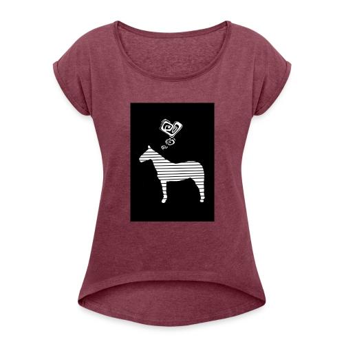 Pferde Herz - Frauen T-Shirt mit gerollten Ärmeln