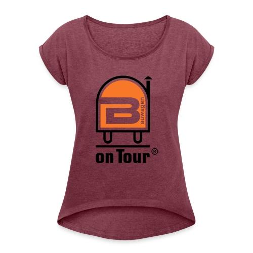 Bauwagen Logo - Frauen T-Shirt mit gerollten Ärmeln