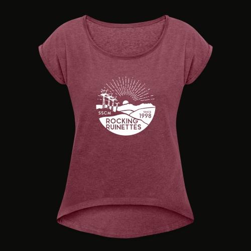 RockingRuinettes white - Frauen T-Shirt mit gerollten Ärmeln