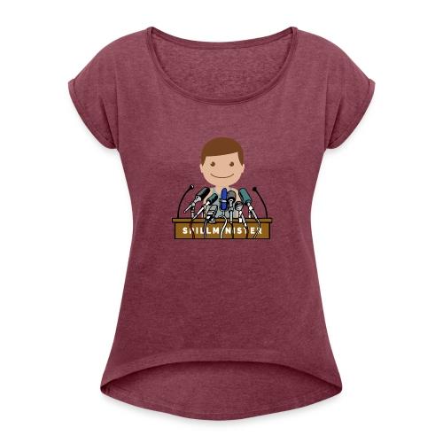 Spillminister logoen - T-skjorte med rulleermer for kvinner