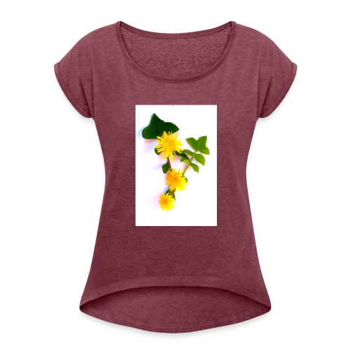 Margaritas 3d by The Cat Project - Camiseta con manga enrollada mujer