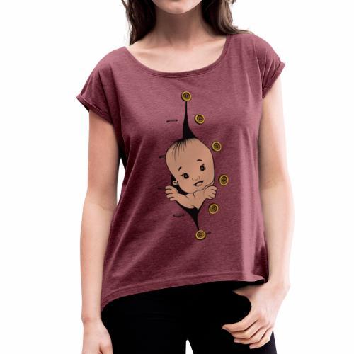 Design 1 baby without smile buttons right - T-shirt à manches retroussées Femme
