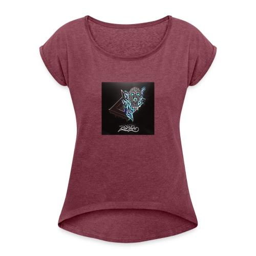 Space Zombii shirt logo design. - Camiseta con manga enrollada mujer