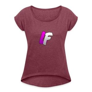 youtube logo - T-shirt à manches retroussées Femme