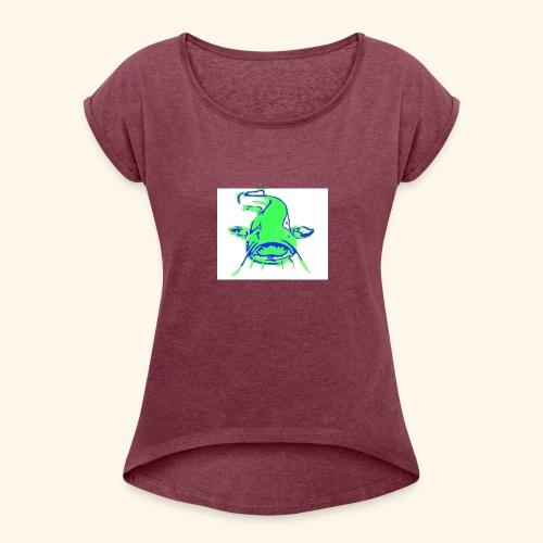 Wels Logo - Frauen T-Shirt mit gerollten Ärmeln