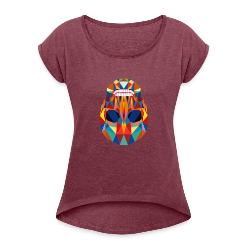 LA CALAVERA - Frauen T-Shirt mit gerollten Ärmeln