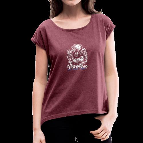 geweihbär Ahrenshoop 2018 - Frauen T-Shirt mit gerollten Ärmeln