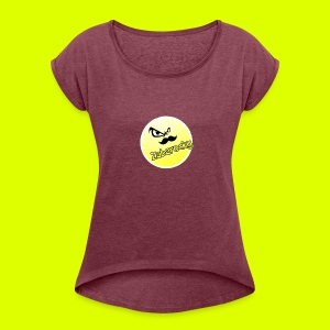 Shirt with nice logo with text - Women's T-shirt with rolled up sleeves