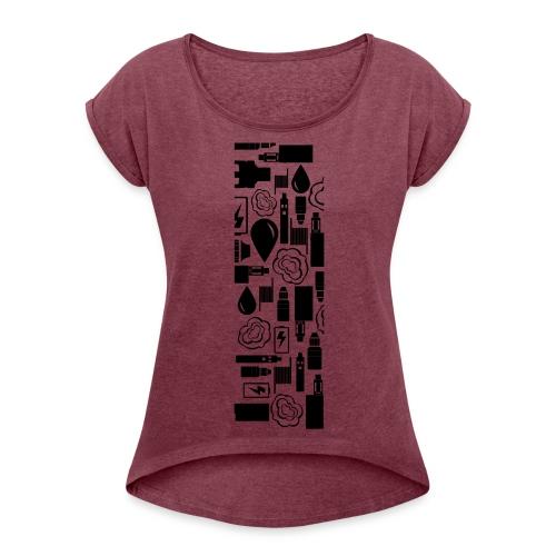 Vaperlogo - Frauen T-Shirt mit gerollten Ärmeln