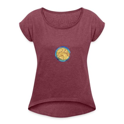 Weltkugel Hebammen - Frauen T-Shirt mit gerollten Ärmeln