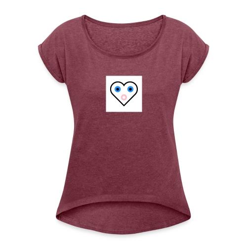 Un cœur qui cherche à exprimer sa joie. - T-shirt à manches retroussées Femme