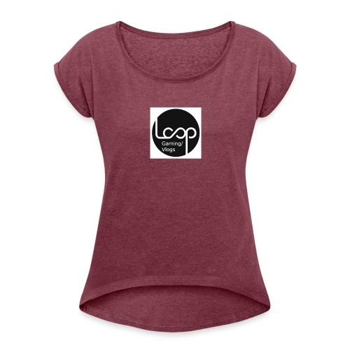 Loop-Gaming - T-skjorte med rulleermer for kvinner