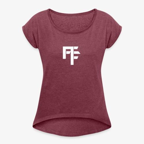 Petit Logo Teamfitfrance Blanc - T-shirt à manches retroussées Femme