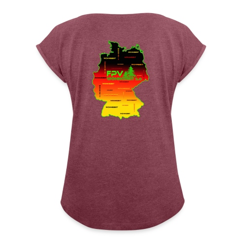 überall wohngibiit - Frauen T-Shirt mit gerollten Ärmeln