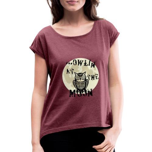 Owlin At The Moon - T-shirt med upprullade ärmar dam
