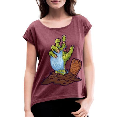 Horror Zombie Hand mit Mund Nasen Schutz - Frauen T-Shirt mit gerollten Ärmeln