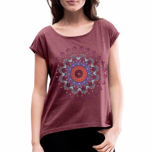 Orange mandala - Dame T-shirt med rulleærmer
